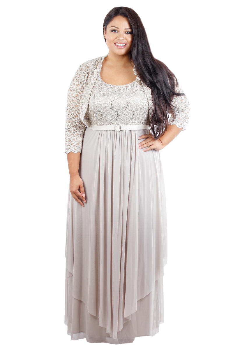 2PC Lace Bodice Dress with Jacket