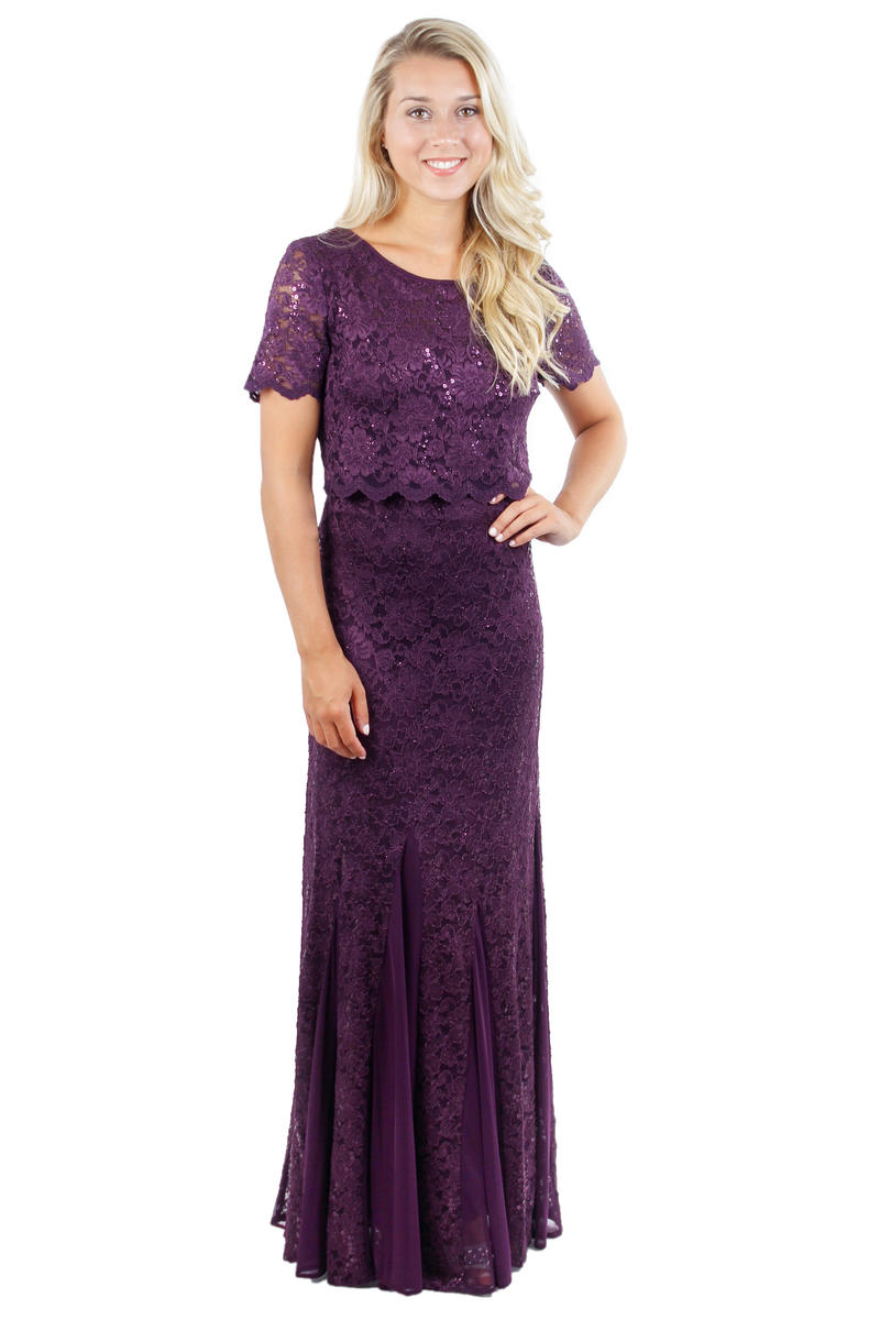 Sequined Lace Popover Gown