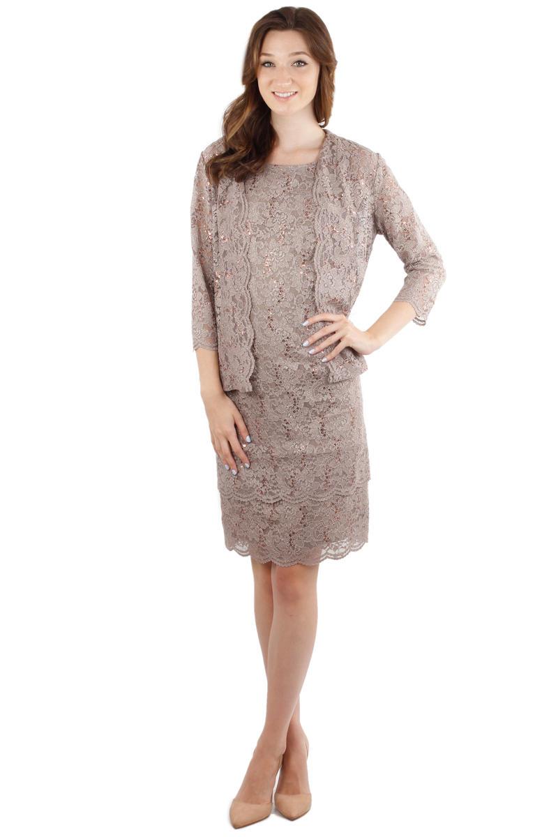 2 Piece Metallic Lace Dress and Jacket