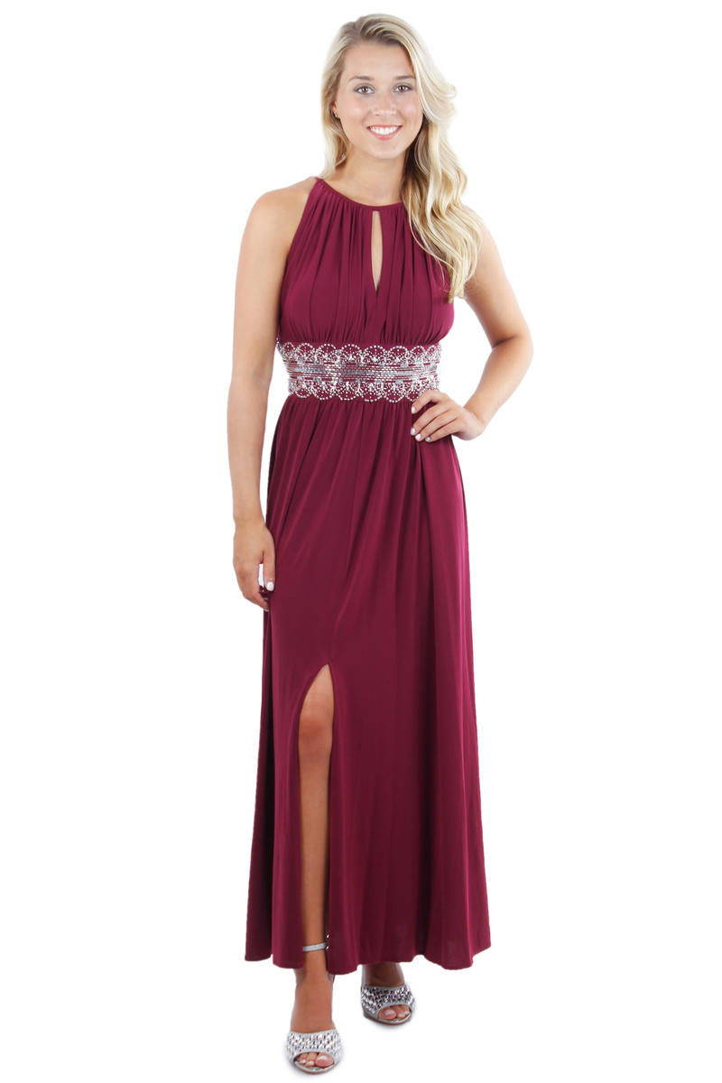 Halter Neck Beaded Waist Gown