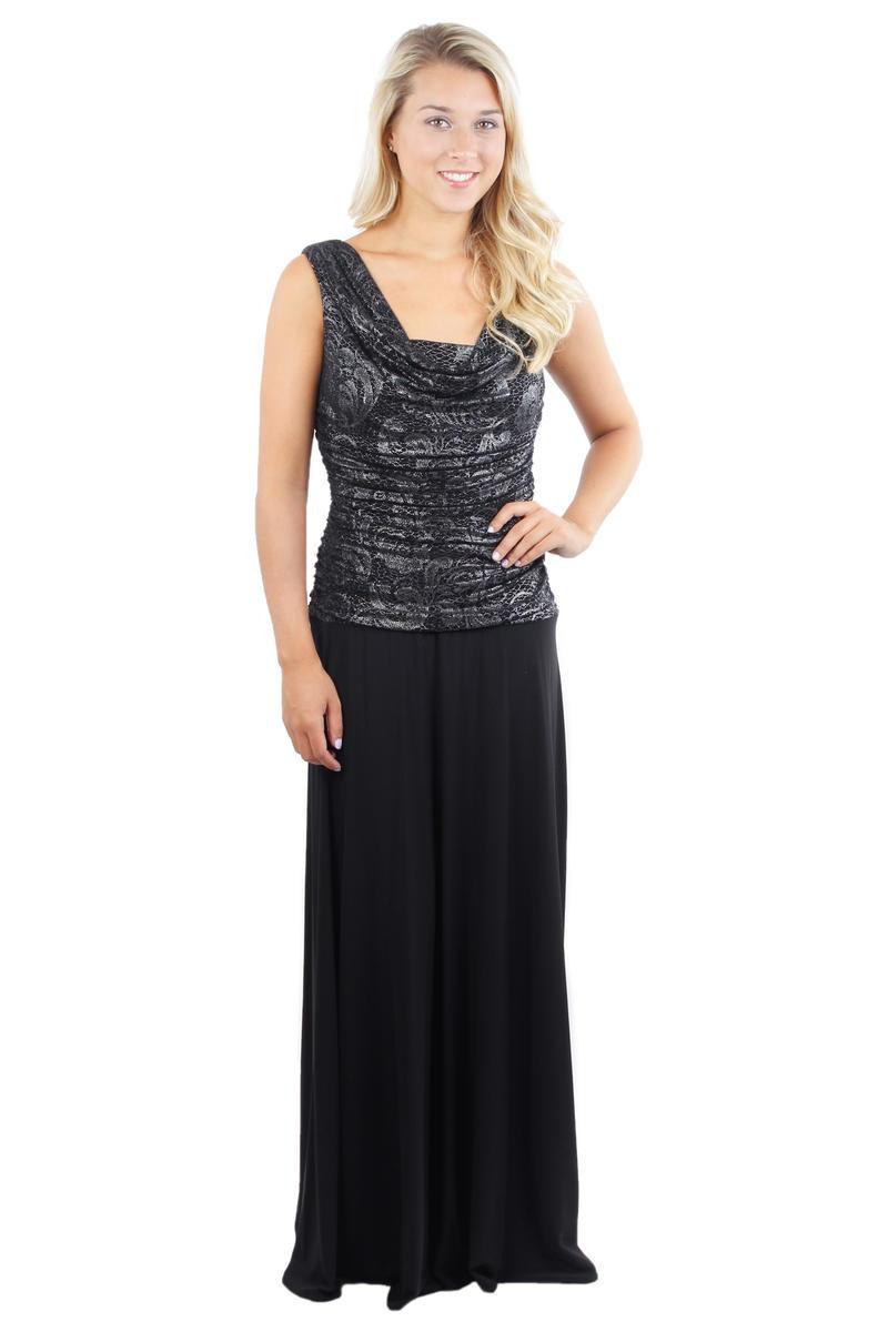 Metallic Draped Bodice Gown