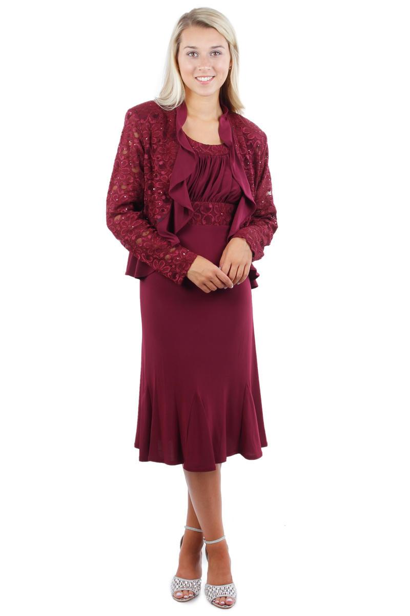 2 Piece Lace Bodice Dress with Jacket