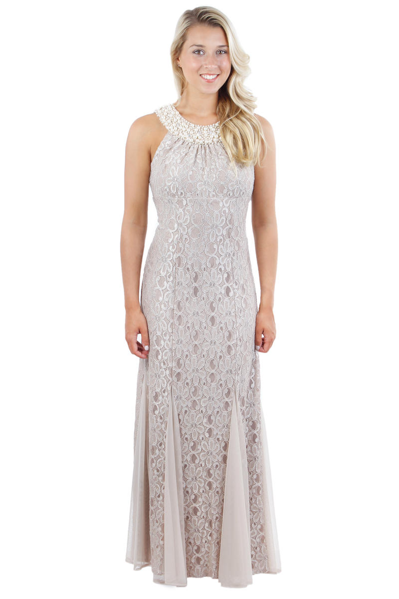 Beaded Halter Neck Lace Gown