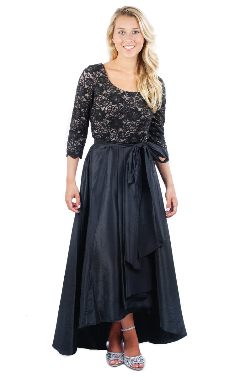 Long Sleeve Lace Metallic Gown