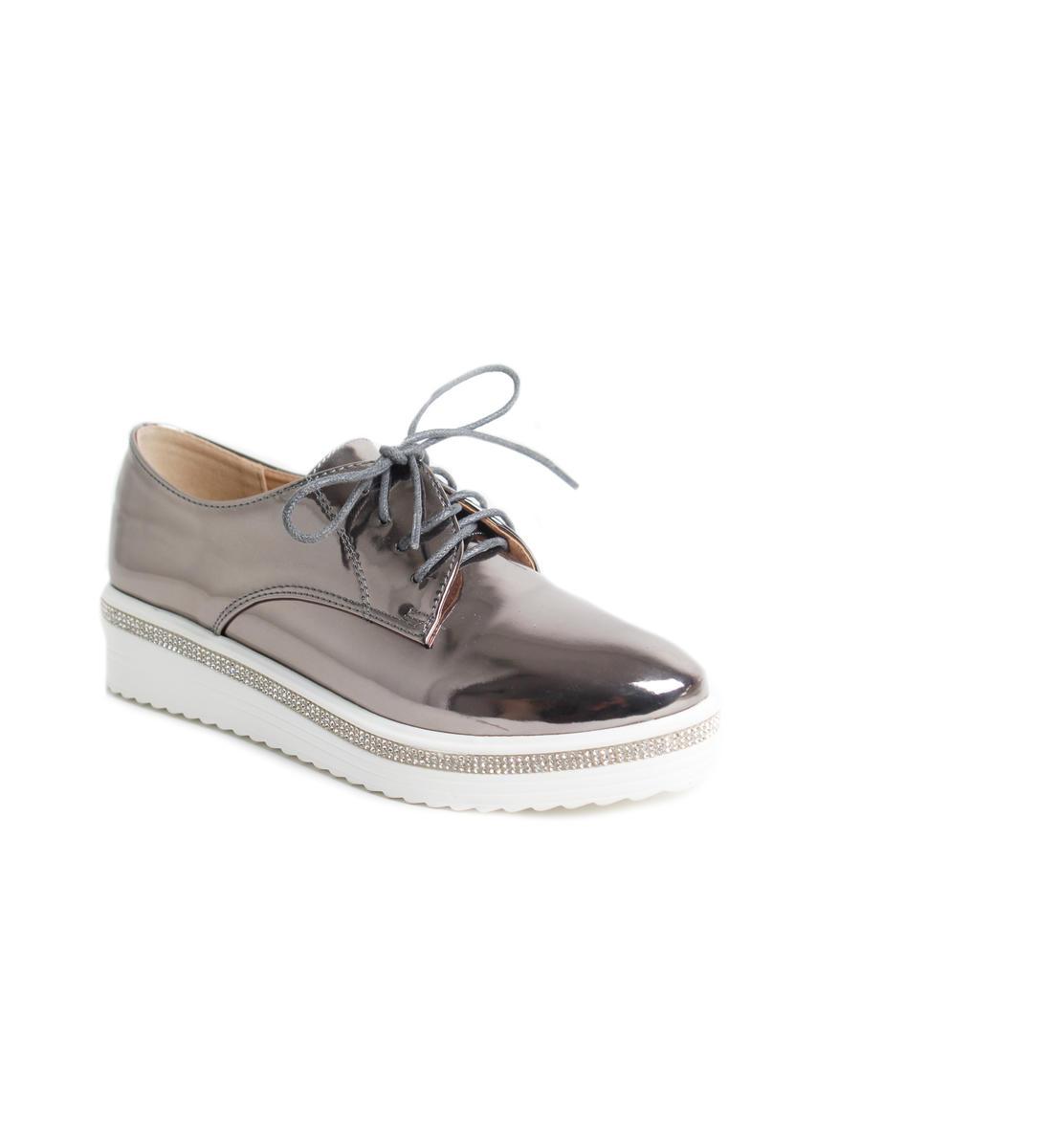 Metallic Rhinestone Line Platform Sneaker
