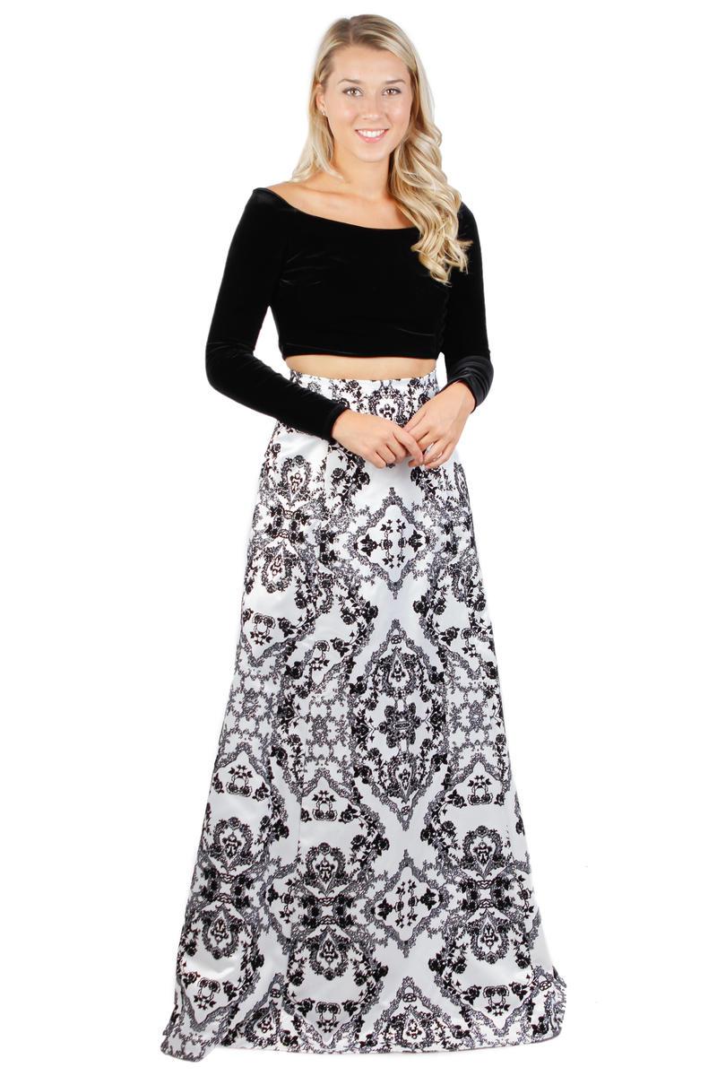 Two Piece Velvet Top Metallic Skirt