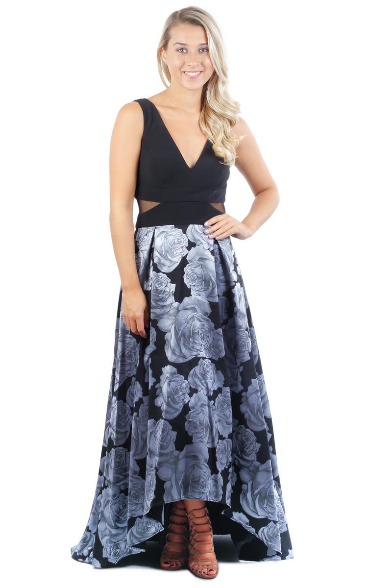 Sleeveless Sheer Waist Print Gown