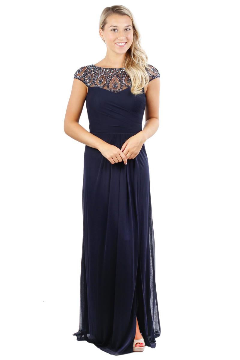 Chiffon Wrap Waist Beaded Neck Gown