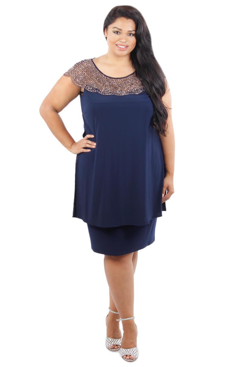 Sheer Beaded Neckline Short Dress