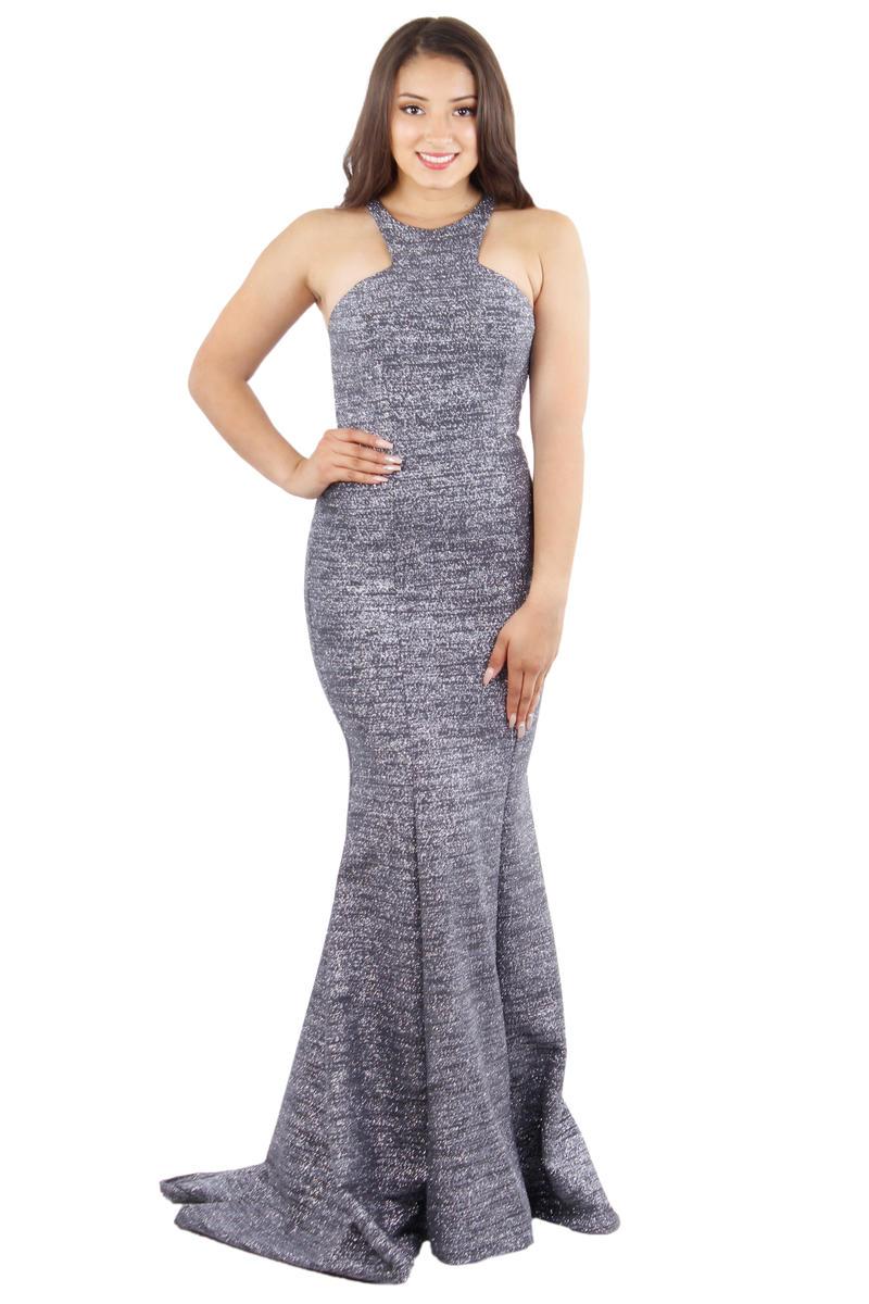 Halter Neck Metallic Glitter Gown