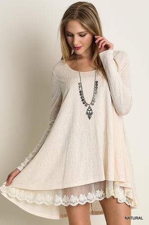 Long Sleeve Knit Dress With Lace Hemline