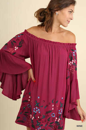 Off Shoulder Bell Sleeve Dress with Floral Embroidery