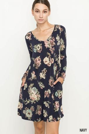 KNIT FLORAL CUTOUT BACK DRESS W/ POCKET - D1220