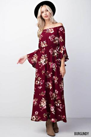 FLORAL OFF SHOULDER BELL SLEEVED MAXI DRESS W/ POCKET - D1278