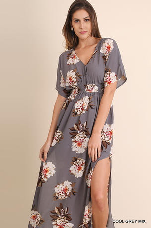 Floral Print Maxi Dress with Side Slits and Back Tie Keyhole