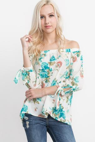 Floral Print Off-the-Shoulder Bell Sleeved Top - T3868