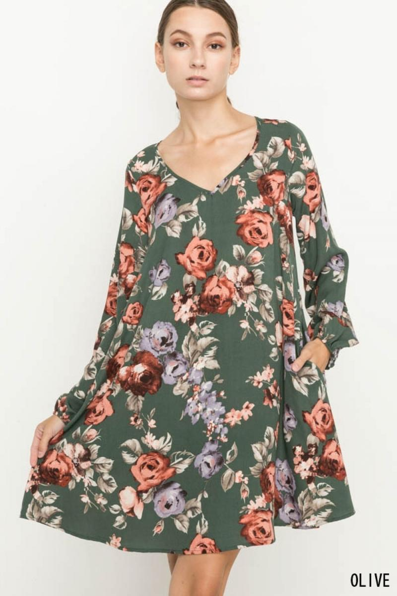WOVEN FLORAL V-NECK DRESS W/ POCKET