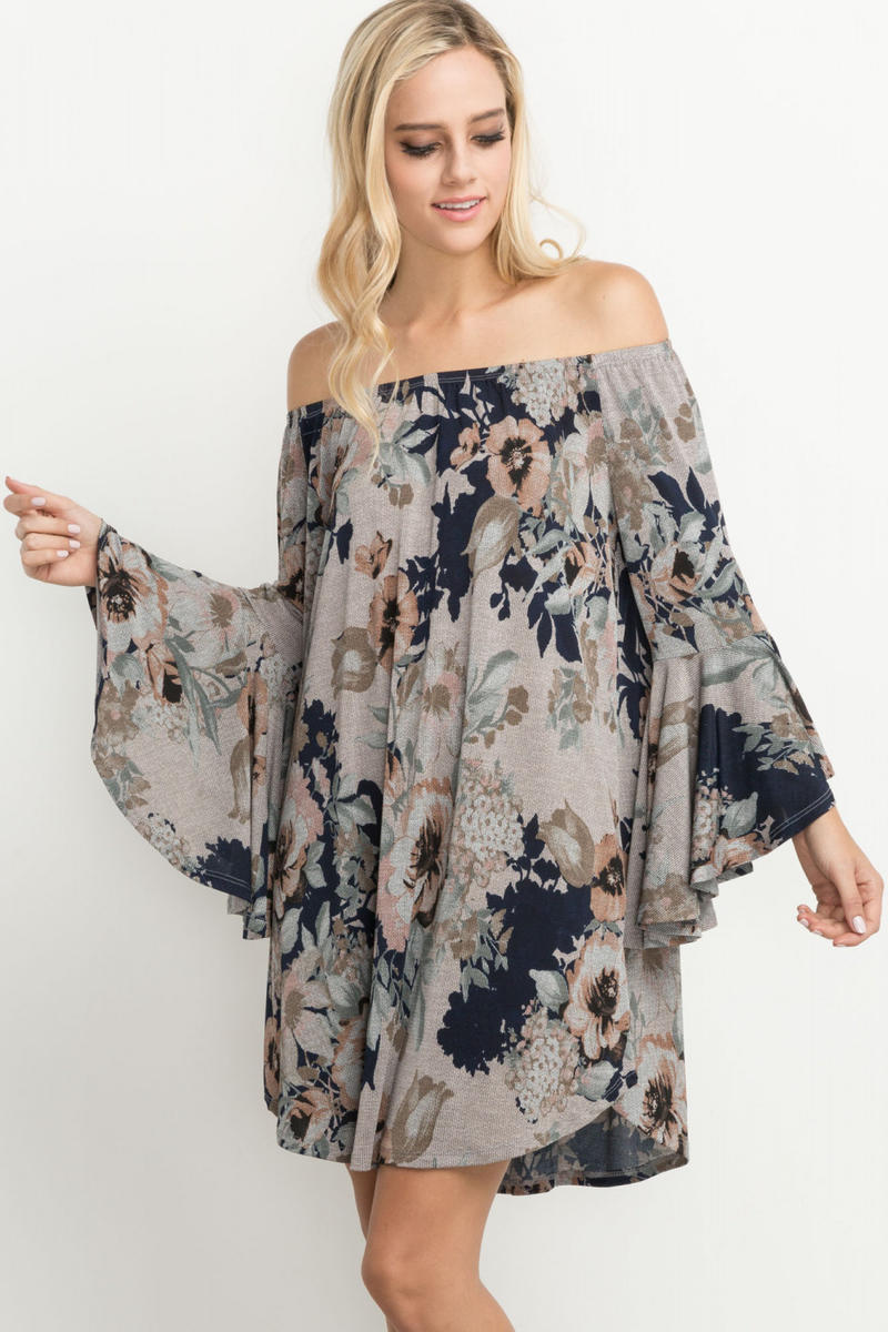 FLORAL PRINT OFF THE SHOULDER BELL SLEEVED DRESS
