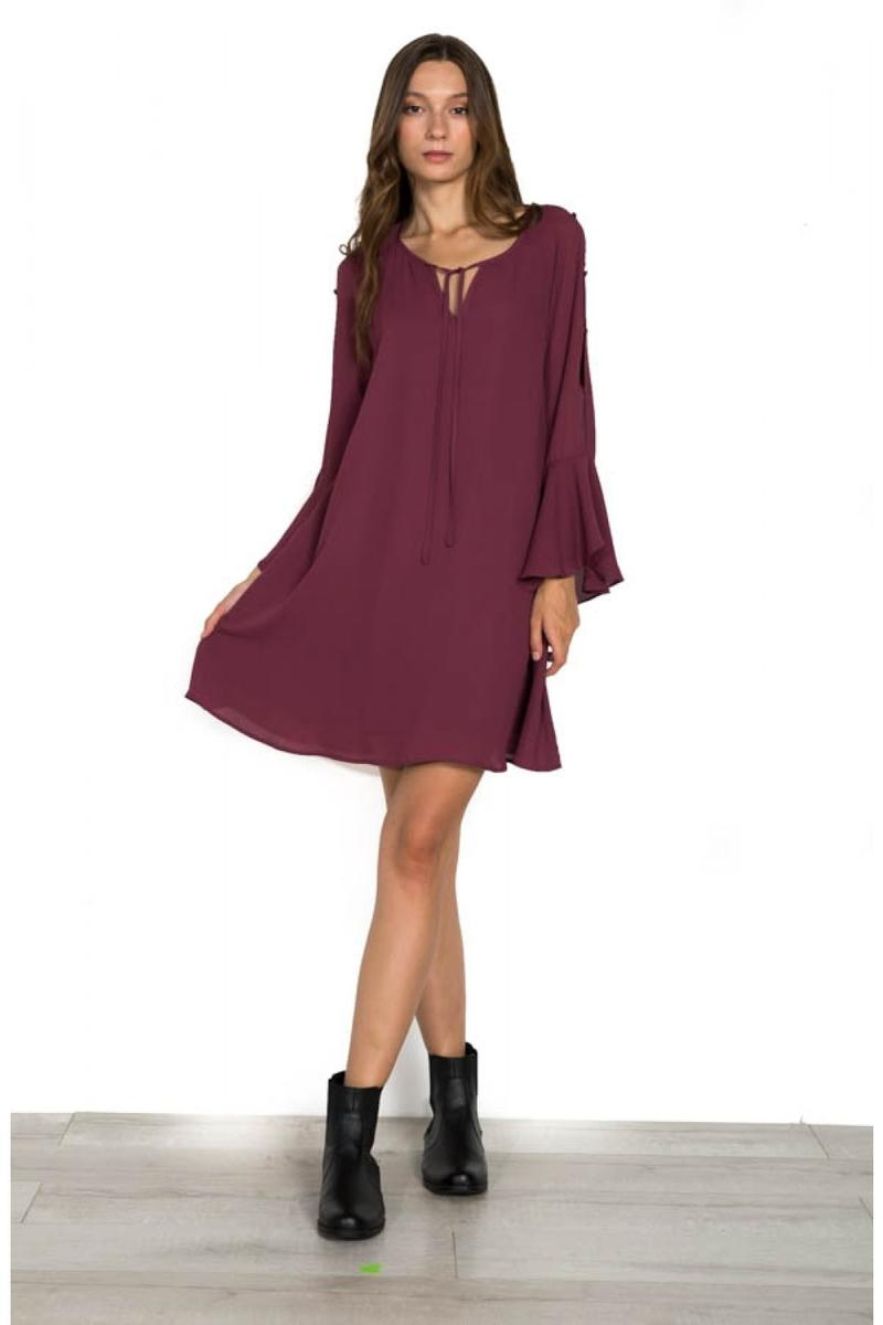 3/4 BELL SLEEVE DRESS WITH FRONT TIE
